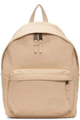 이스트팩 Eastpak Beige Leather Padded Pakr Backpack