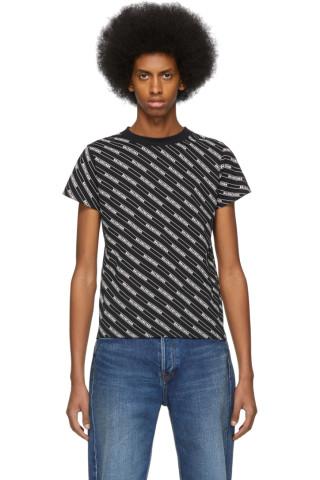발렌시아가 맨 반팔티 Balenciaga Black Allover Logo Lines Shrunk T-Shirt