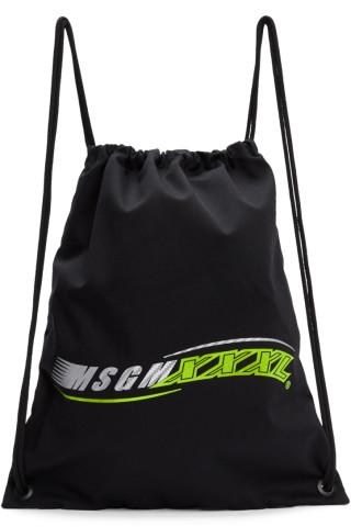 MSGM Black XXXL Logo Backpack