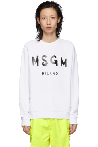 MSGM White Artist Logo Sweatshirt