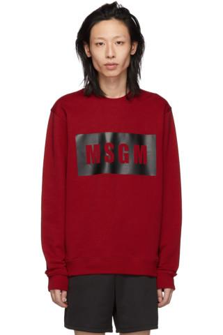 MSGM Red Box Logo Sweatshirt