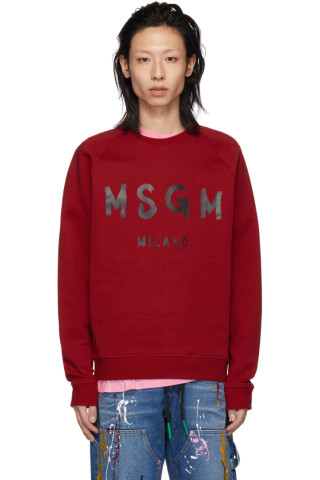 MSGM Red Artist Logo Sweatshirt