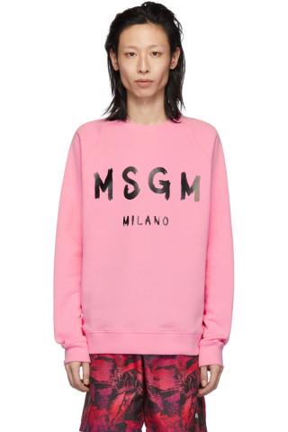 MSGM Pink Artist Logo Sweatshirt