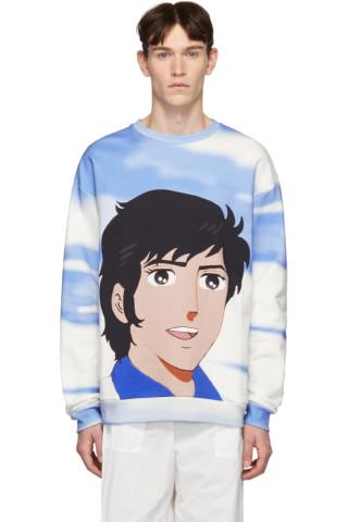 MSGM Blue & White Shiro Print Sweatshirt