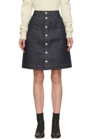 아페쎄 A.P.C. Indigo Therese Button-Up Skirt