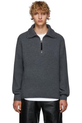 아크네 스튜디오 Acne Studios Grey Melange Wool Half-Zip Sweater