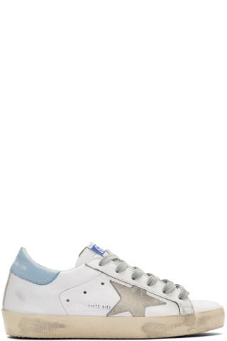 골든구스 수퍼스타 스니커즈 Golden Goose White & Blue Superstar Sneakers