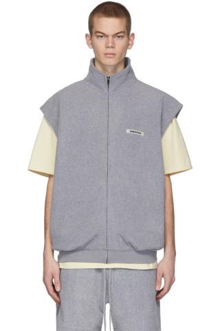 에센셜 플리스 조끼 -  그레이 Essentials Grey Polar Fleece Vest