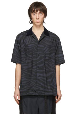 사카이 셔츠 Sacai Black & Grey Zebra Short Sleeve Shirt