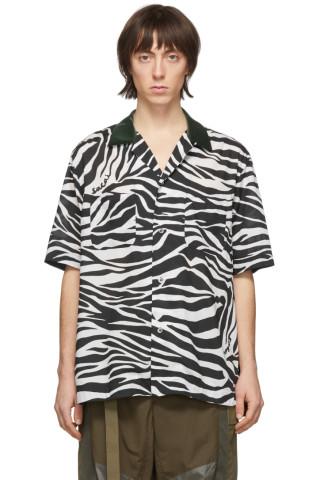 사카이 셔츠 Sacai Black & White Zebra Short Sleeve Shirt