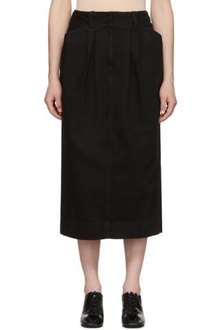 르메르 Lemaire Black Denim Baggy Skirt