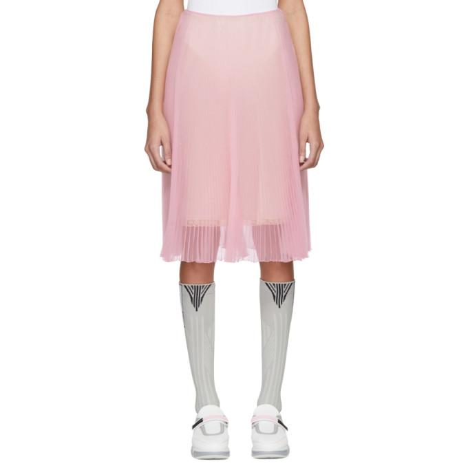 Pink Pleated Chiffon Skirt by Prada