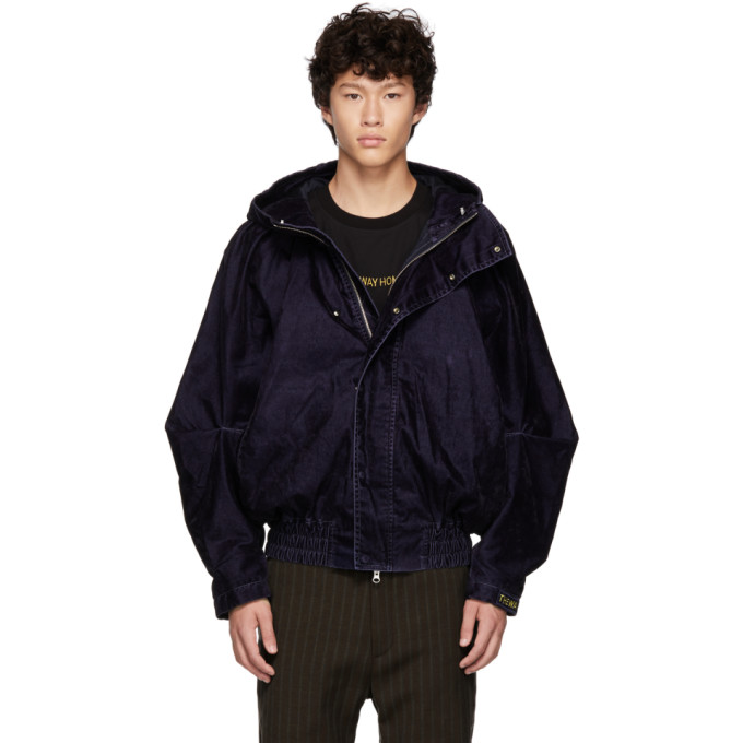 Navy Draped Jacket by Feng Chen Wang