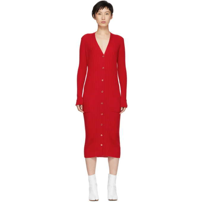 Red Ribbed Dress by Maison Margiela