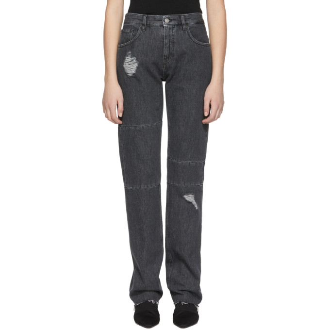 Black Aides France Ripped Knee Panel Jeans by Mm6 Maison Margiela