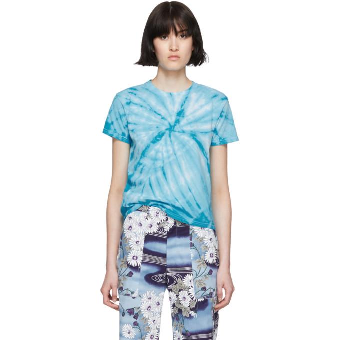 Blue Tie Dye 'call Mom' T Shirt by Collina Strada