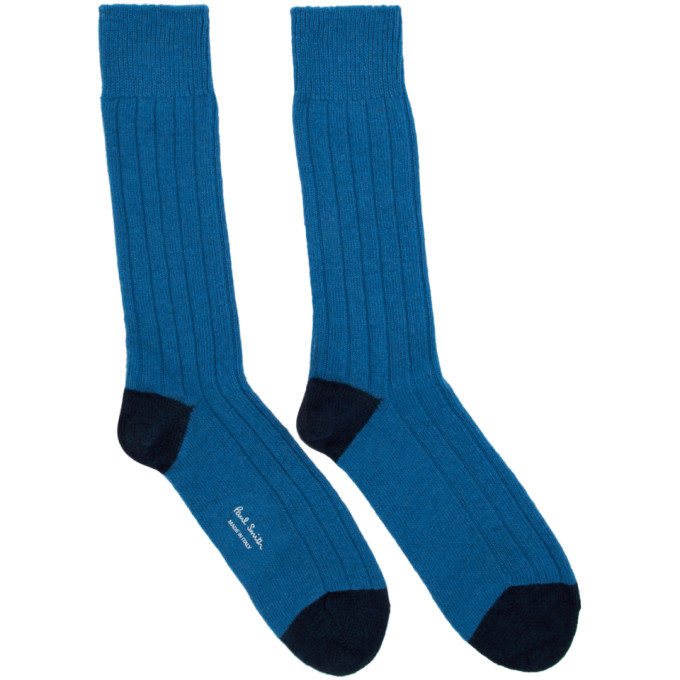 Blue Wool & Cashmere Socks by Paul Smith