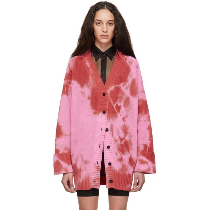Red & Pink Tie Dye Cardigan by Msgm
