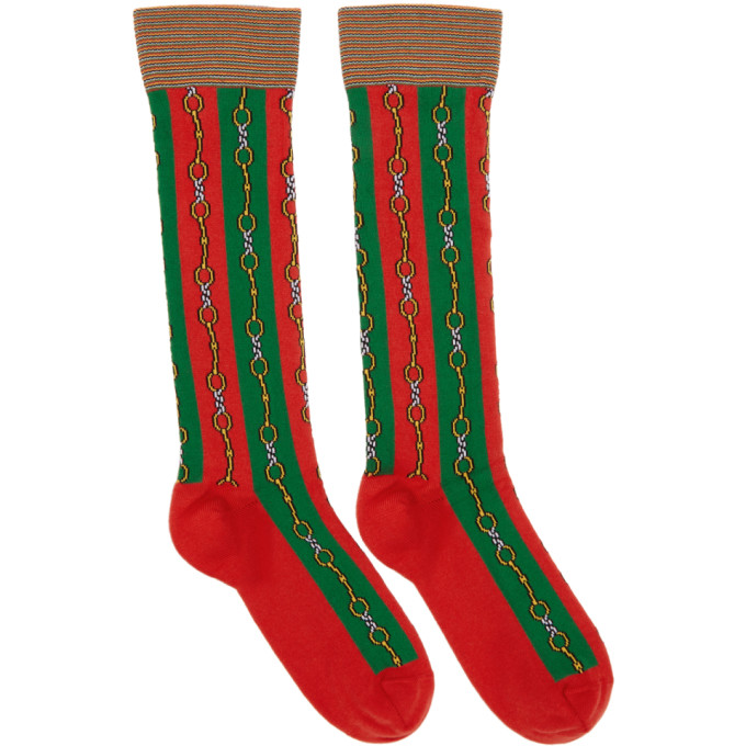 Green & Red Chain Socks by Gucci