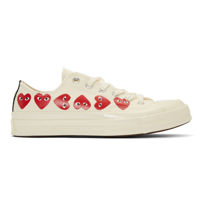 Details about Comme des Garçons Play Off White Converse Edition Multiple Hearts Chuck 70 Snea