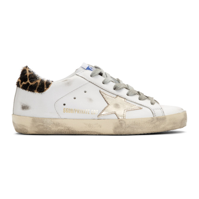 Golden Goose SSENSE Exclusive White & Gold Giraffe Superstar Sneakers