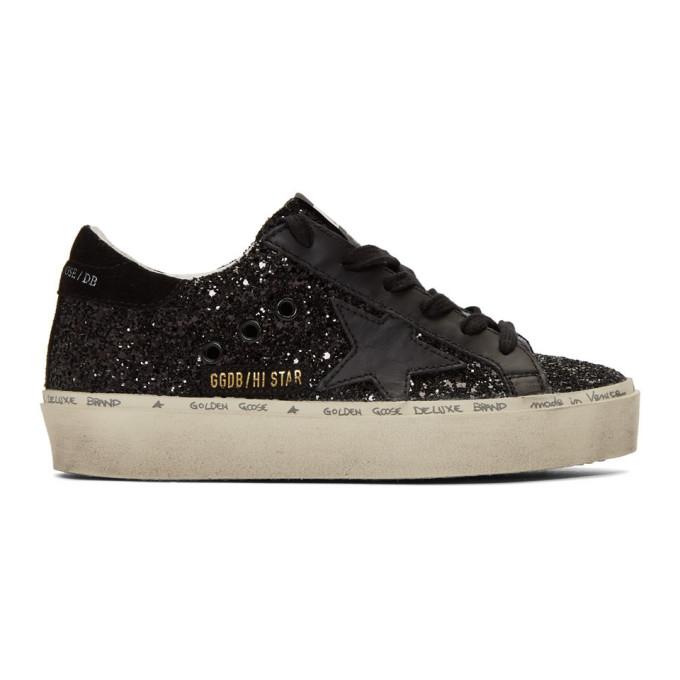 Golden Goose Black Glitter Hi Star Sneakers