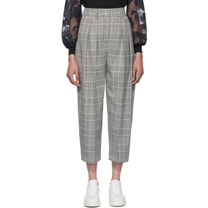 Black & White Curved Check Pants by See By ChloÉ