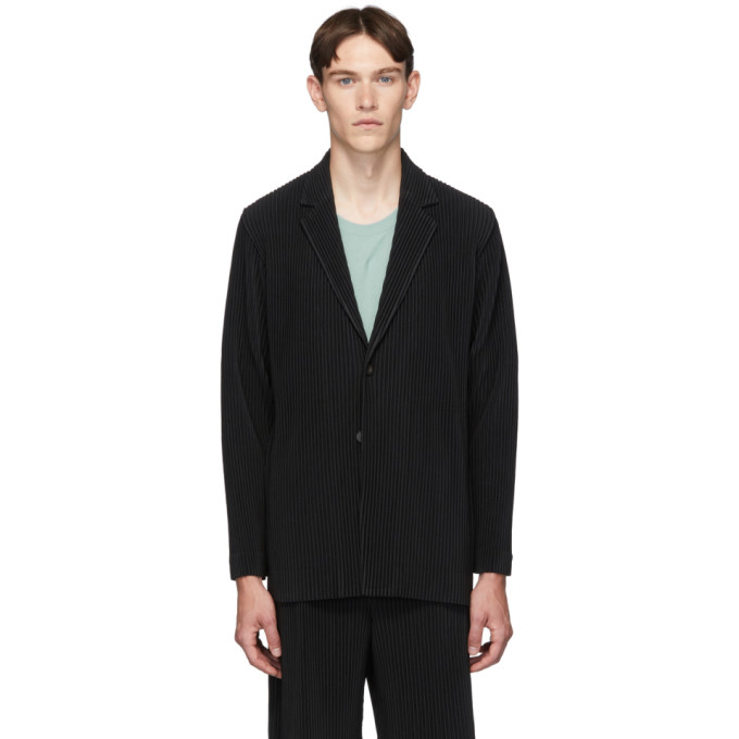 Black Pleated Basics Blazer by Homme PlissÉ Issey Miyake
