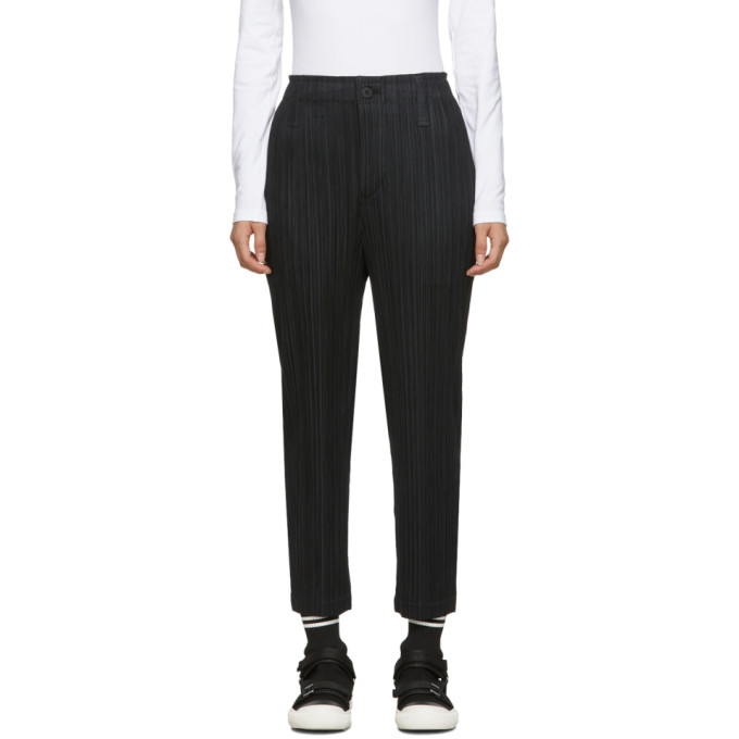 Black Thicker Bottoms Trousers by Pleats Please Issey Miyake