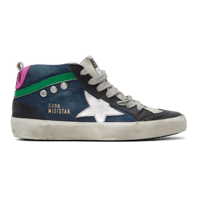 Golden Goose Blue Denim Mid Star Sneakers