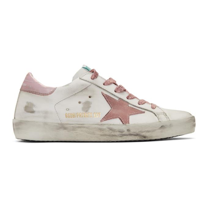 Golden Goose SSENSE Exclusive White & Pink Superstar Sneakers