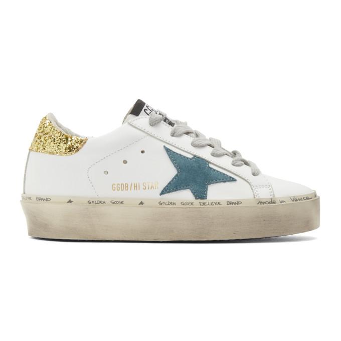 Golden Goose White Glitter Hi Star Sneakers