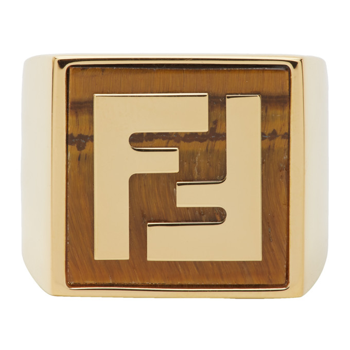 Gold & Orange Forever Fendi Signet Ring