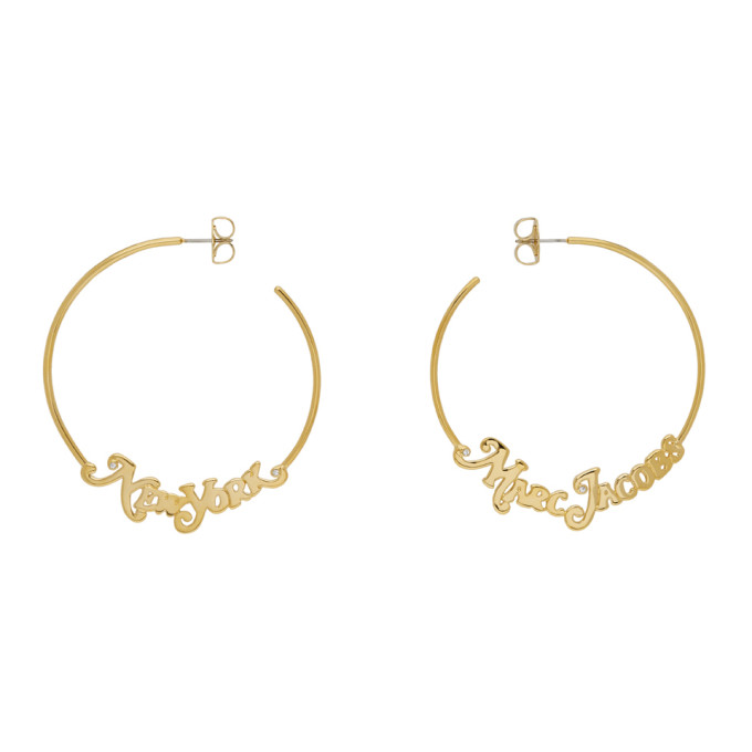 Marc Jacobs Gold New York Magazine Edition Small Logo Hoop Earrings