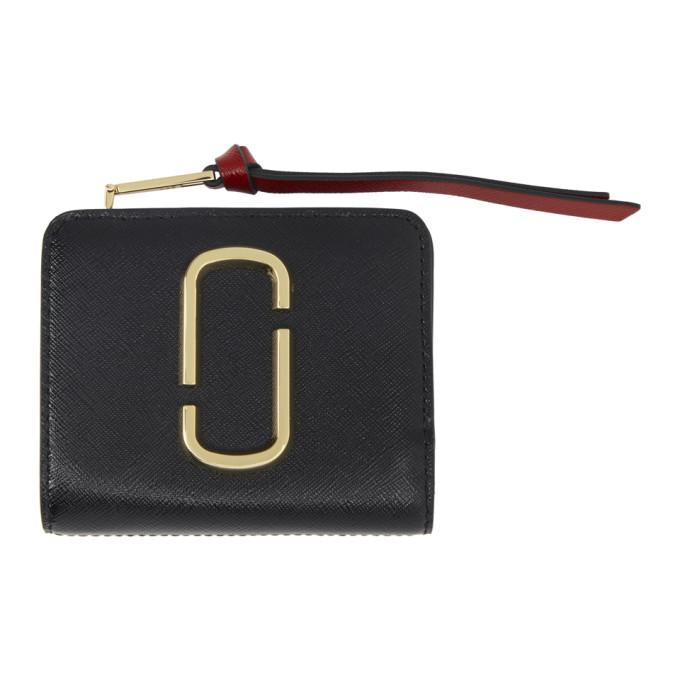 Marc Jacobs Black & Burgundy Mini Snapshot Compact Wallet