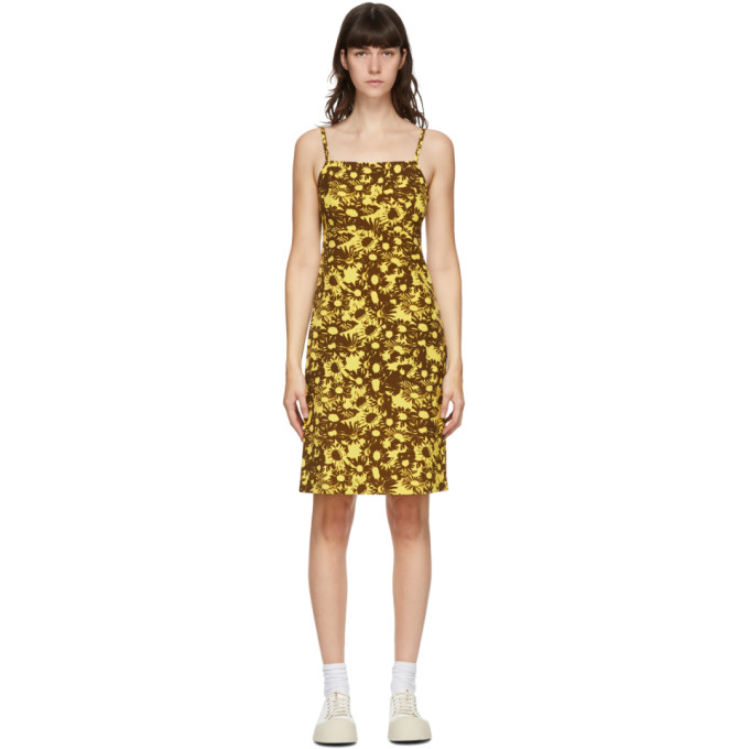 Yellow & Brown Heaven by Marc Jacobs Techno Floral Dress