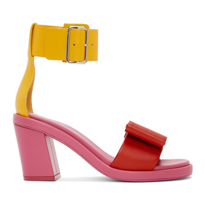 Comme des Garcons Pink & Yellow Bow Heeled Sandals
