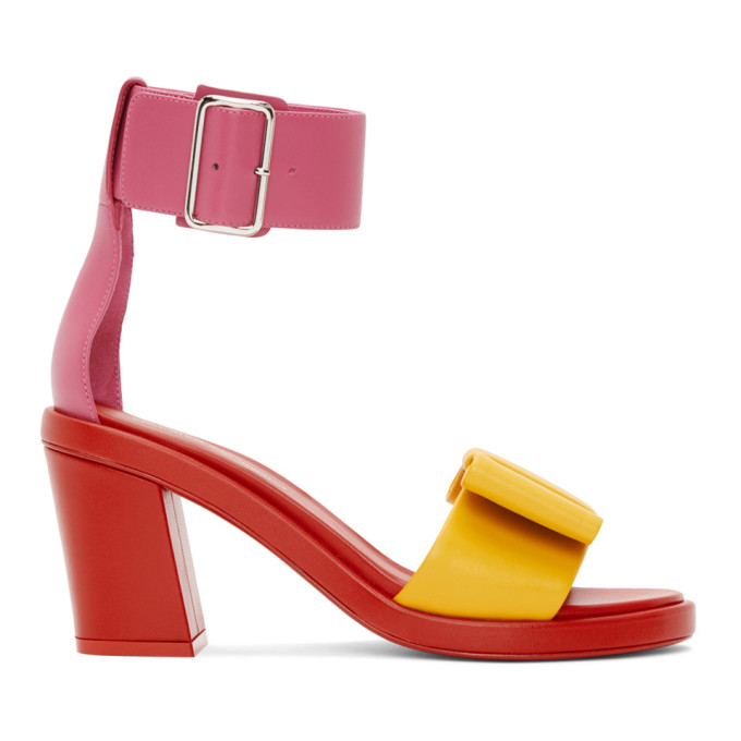 Comme des Garcons Red & Pink Bow Heeled Sandals
