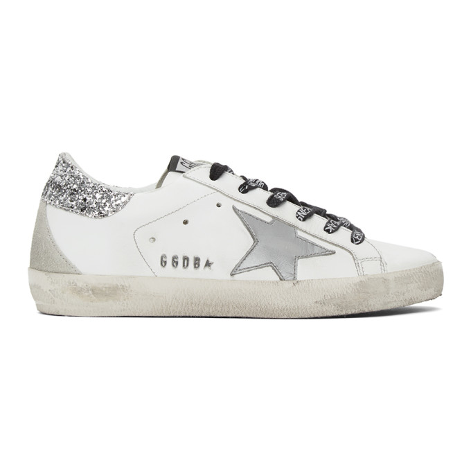 Golden Goose White & Silver Glitter Superstar Sneakers