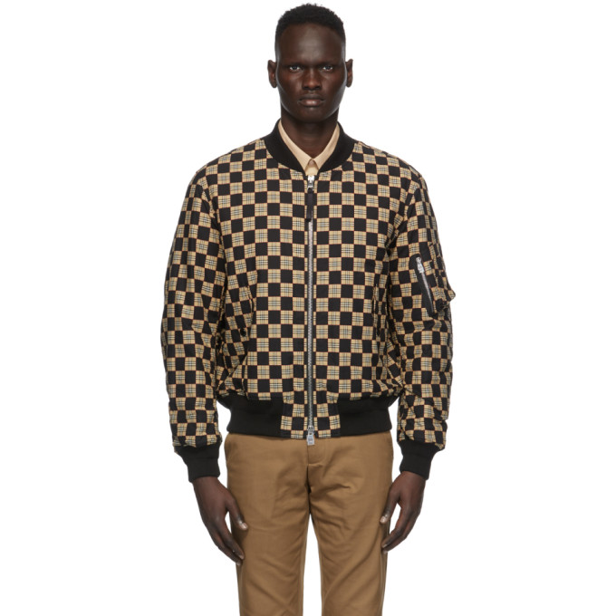 Burberry Black & Beige Checkered Brookland Bomber Jacket