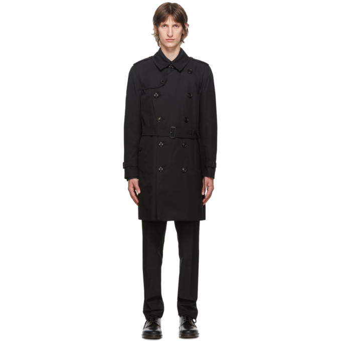 Burberry Black Kensington Heritage Mid-Length Trench Coat