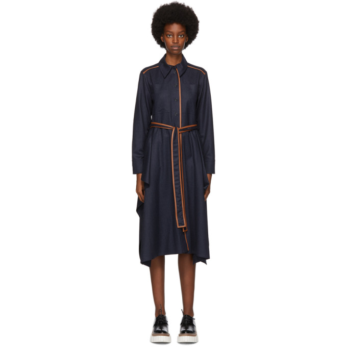 Stella McCartney Navy Wool Flannel Leilani Dress