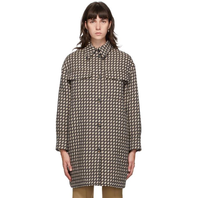 Stella McCartney Beige & Brown Houndstooth Kerry Coat