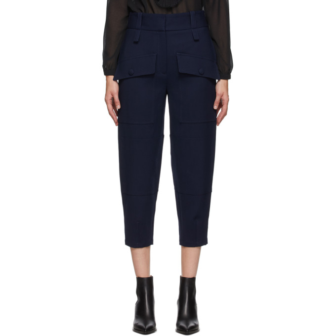 Stella McCartney Navy Wool Cecilia Front Pockets Trousers