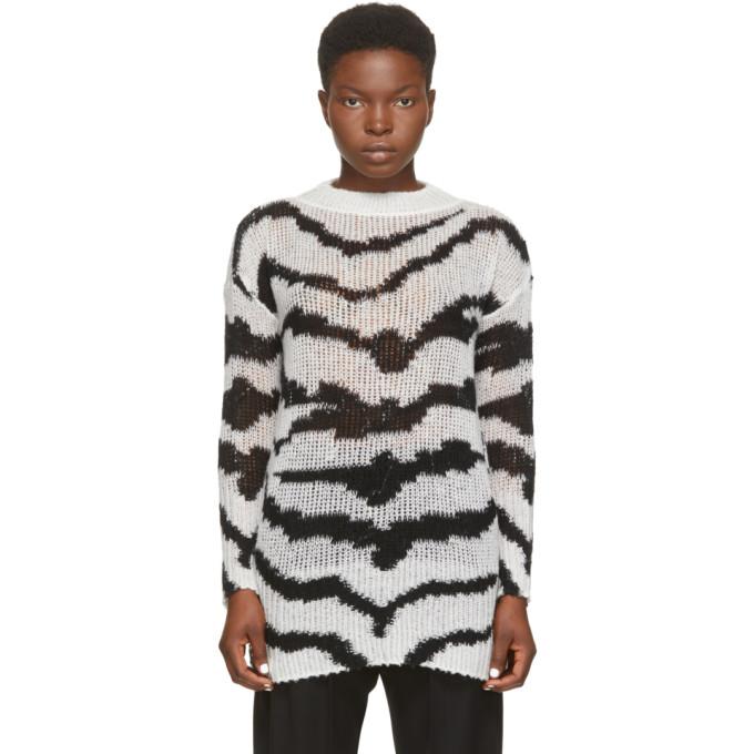 Stella McCartney Black & White Intarsia Tiger Sweater