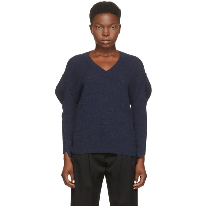 Stella McCartney Navy Deconstructed V-Neck Sweater