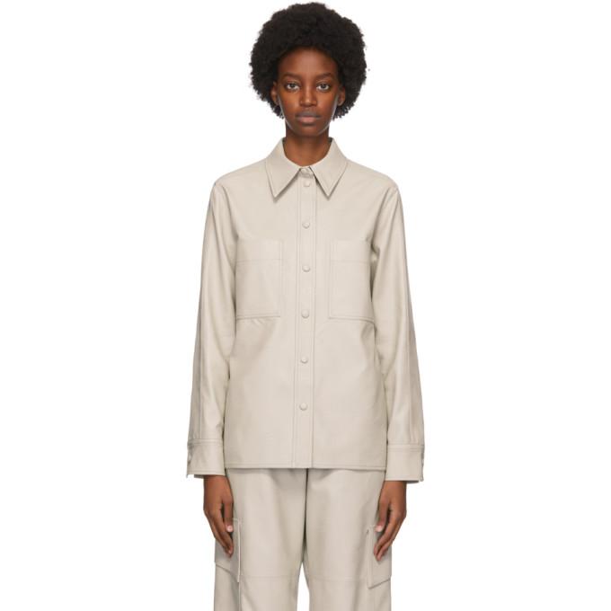 Stella McCartney Grey Faux-Leather Hattie Shirt
