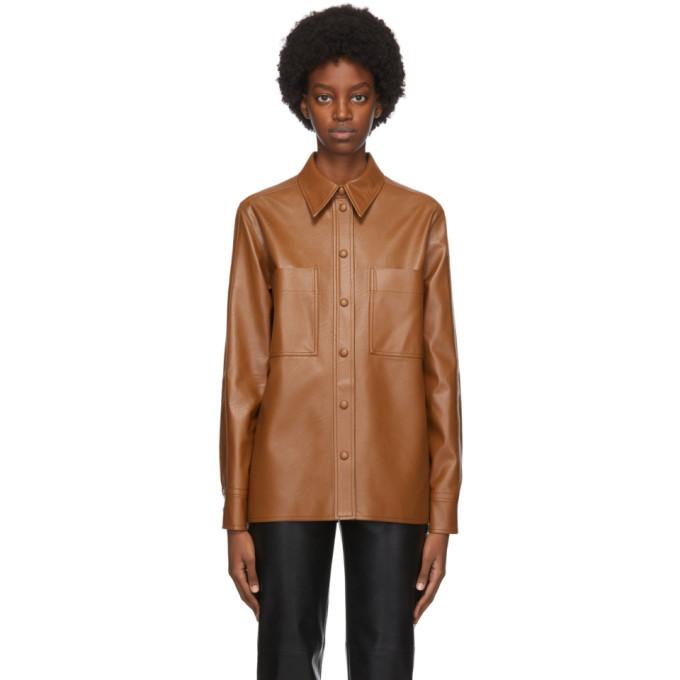 Stella McCartney Tan Faux-Leather Hattie Shirt