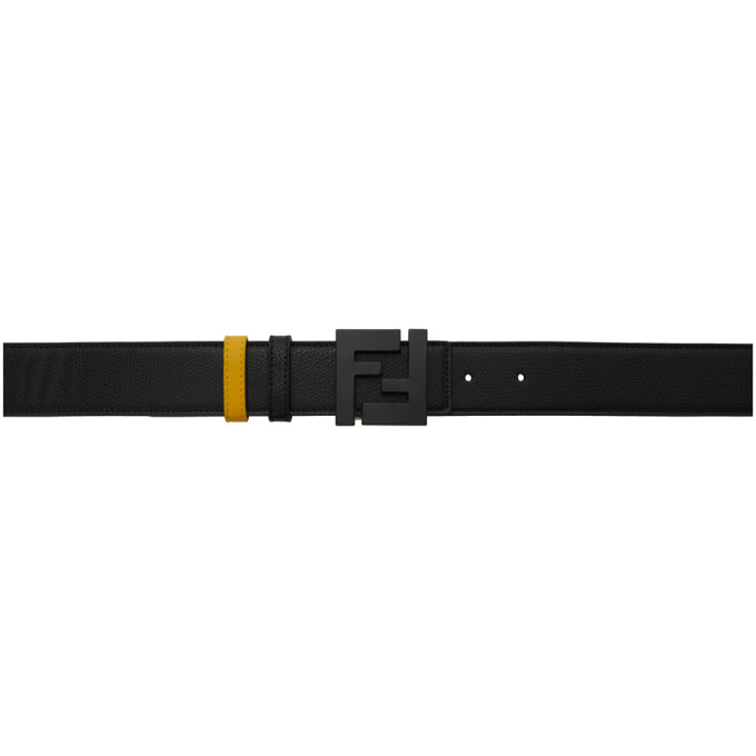 Reversible Black & Yellow 'Forever Fendi' Belt