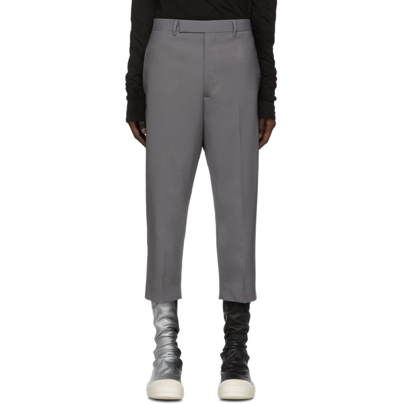 Grey Cropped Astaires Trousers by Rick Owens